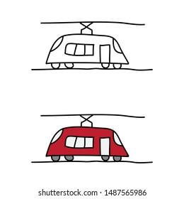cartoon drawing of a tram