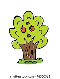cartoon drawing tree with color. vector illustration (cute tree)