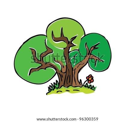 Cartoon Drawing Tree Color Vector Illustration Stock Vektorgrafik