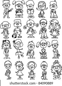 cartoon drawings of children, students