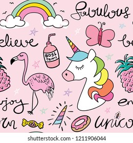 Cartoon drawings of unicorn, butterfly, flamingo seamless repeating pattern texture background / Vector illustration design for fashion fabrics, textile graphics, prints, wallpapers and etc