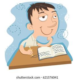 cartoon dreamy schoolboy while writing.