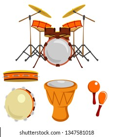 Cartoon drums. Musical drum instruments. Music instrument, philharmonic orchestra classic drumming instrumentation. Drum, maracas and tambourine vector isolated icons collection
