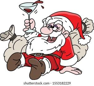 Cartoon drunk Santa Claus lying on his sacks full of gifts drinking wine vector illustration