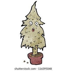 cartoon dry old christmas tree