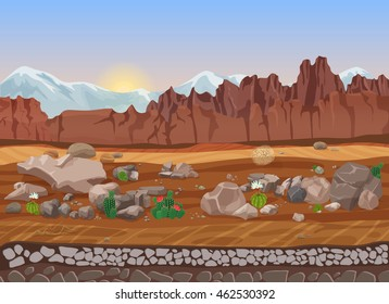 Cartoon dry stone desert landscape with cactus, mountains, rocks and sand