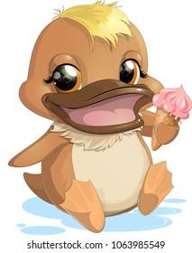 Cartoon duck with ice cream