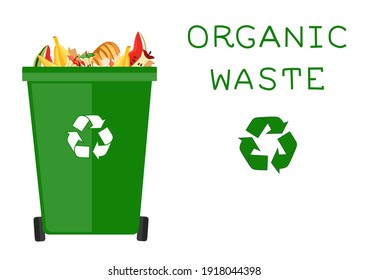 Cartoon dumpster with food garbage. Illustration for food processing and compost, organic waste, zero waste theme. Flat vector design.