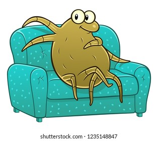 Cartoon dust mite on the sofa. Cartoon pest series.