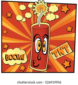 Cartoon dynamite burning in a pop art comic style