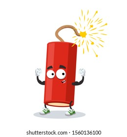 cartoon dynamite stick with a lit wick mascot shows its strength on a white background