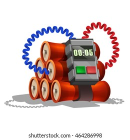 Cartoon dynamite with timer for games. Vector illustration.