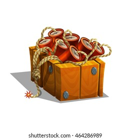 Cartoon dynamite in wooden box with burning wick for games. Vector illustration.