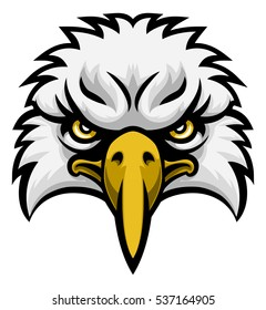 A cartoon eagle bird character sports mascot face front on