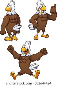 Cartoon eagle in different poses. Vector clip art illustration with simple gradients. Each on a separate layer.