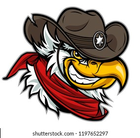 Cartoon eagle head in cowboy hat.