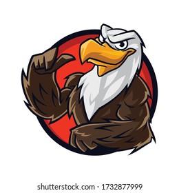 Cartoon Eagle Muscle Mascot Logo