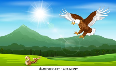 Cartoon of eagle pouncing on snakes