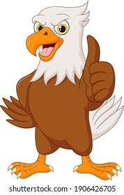 Cartoon eagle showing a thumb up