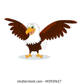 Cartoon eagle with spread wings