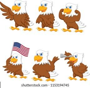 Cartoon eagles collection set