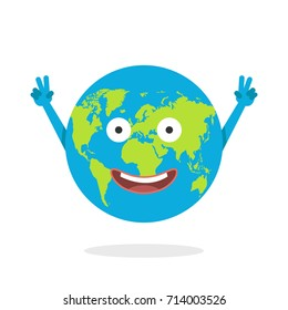 Cartoon earth character. World map globe with smiley face and hands. Vector illustration.