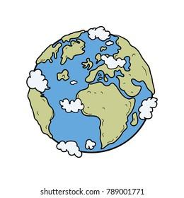 Cartoon Earth Color Vector
