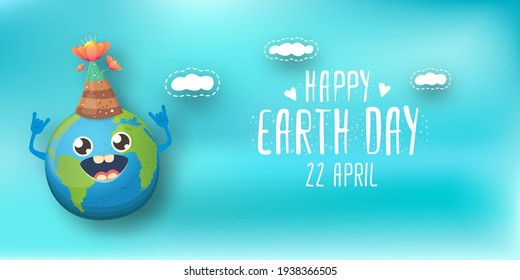 Cartoon earth day horizontal banner with cute smiling earth planet character with funny hat isolated on blue sky background. Eath day concept horizontal design template with funny kawaii earth globe