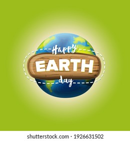 Cartoon earth day illustration or banner with earth globe isolated on green background. Vector World earth day concept poster illustration with planet Earth in space Z