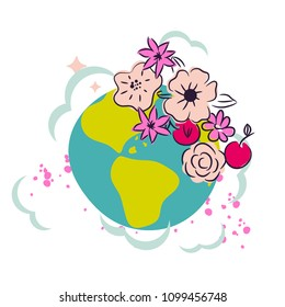 Cartoon earth with flower crown decor clipart vector. Cute planet for stickers and peace concept illustration.