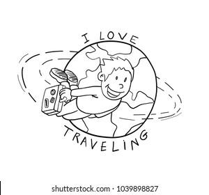 cartoon Earth globe .Tourism vector,  Love Travel.