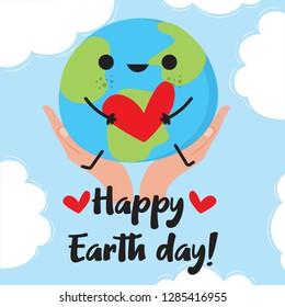 Cartoon Earth Illustration, hands holding earth - Vector Happy Earth Day with cartoon Earth holding cute heart
