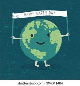 """Cartoon Earth Illustration. Planet smile and hold banner with """"Happy Earth Day"""" words. On old paper texture. Grunge layers easily edited."""
