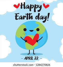 Cartoon Earth Illustration - Vector Happy Earth Day with cartoon Earth holding cute heart