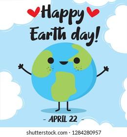 Cartoon Earth Illustration - Vector Happy Earth Day