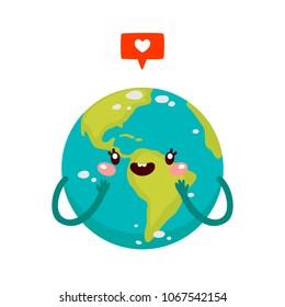 Cartoon Earth with like, character, vector.