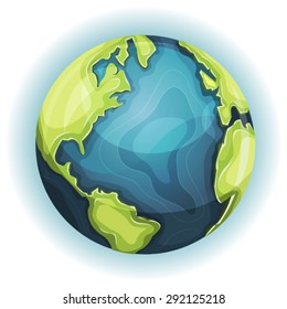 Cartoon Earth Planet Illustration of a cartoon design earth planet globe icon with hand drawn schematic continent and ocean frontiers