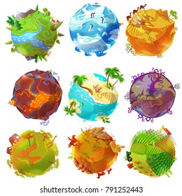 Cartoon Earth planets set with forest arctic desert volcano tropical beach savannah wild west rural landscapes isolated vector illustration