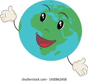 Cartoon of the earth. Vector illustration