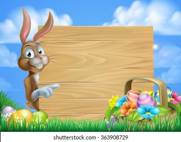 Cartoon Easter bunny and Easter basket full of Easter eggs background