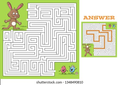 Cartoon easter game puzzle with solution. Vector illustration with separate layers.