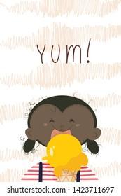 cartoon ebony girl with bright yellow ice cream. Childlike illustration.