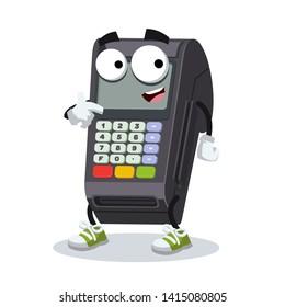 cartoon EDC card swipe machine mascot showing himself on a white background