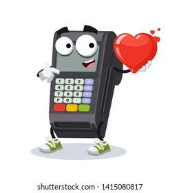 cartoon EDC card swipe machine character mascot keeps the heart on white background