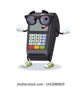 cartoon EDC card swipe machine character mascot in black sunglasses on a white background