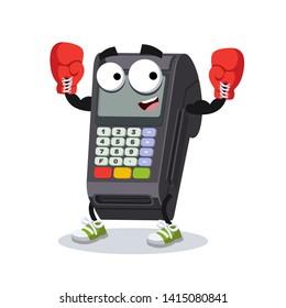 cartoon EDC card swipe machine mascot in red boxing gloves on white background