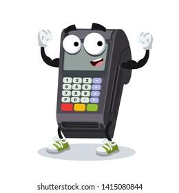 cartoon EDC card swipe machine mascot shows its strength on a white background