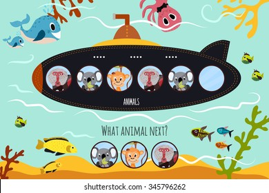 Cartoon  of Education will continue the logical series of colourful animals on submarine in the ocean among sea animals. Matching Game for Preschool Children. Vector illustration