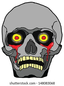 Cartoon of an eerie halloween skull with bleeding eye.