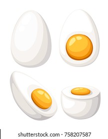 Cartoon egg isolated on white background. Set of boiled, half, sliced eggs. Vector illustration. Eggs in various forms. Web site page and mobile app design